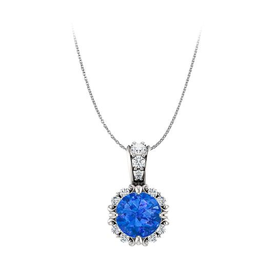 Preload https://img-static.tradesy.com/item/23999815/blue-round-sapphire-and-cz-halo-style-pendant-in-14k-gold-earrings-0-0-540-540.jpg
