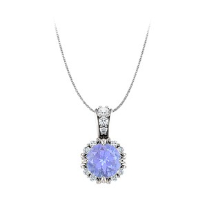 DesignerByVeronica Round Tanzanite and CZ Embellished Bail Pendant Gold