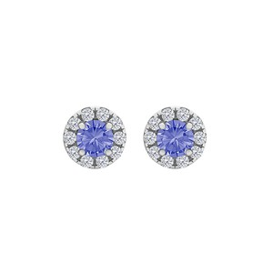 DesignerByVeronica Round Tanzanite CZ Halo Stud Earrings Sterling Silver