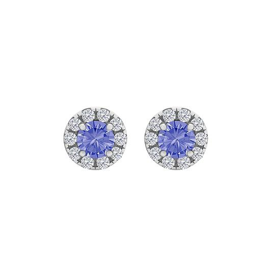 Preload https://img-static.tradesy.com/item/23999839/blue-round-tanzanite-cz-halo-stud-sterling-silver-earrings-0-0-540-540.jpg