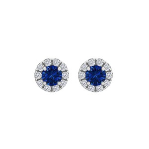 DesignerByVeronica Royal Sapphire CZ Round Earrings Push Back 925 Silver