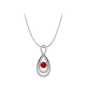 DesignerByVeronica Ruby and CZ Double Loop Infinity Fancy Pendant Silver