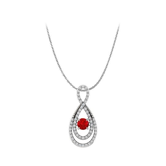 Preload https://img-static.tradesy.com/item/23999862/pink-ruby-and-cz-double-loop-infinity-fancy-pendant-silver-necklace-0-0-540-540.jpg
