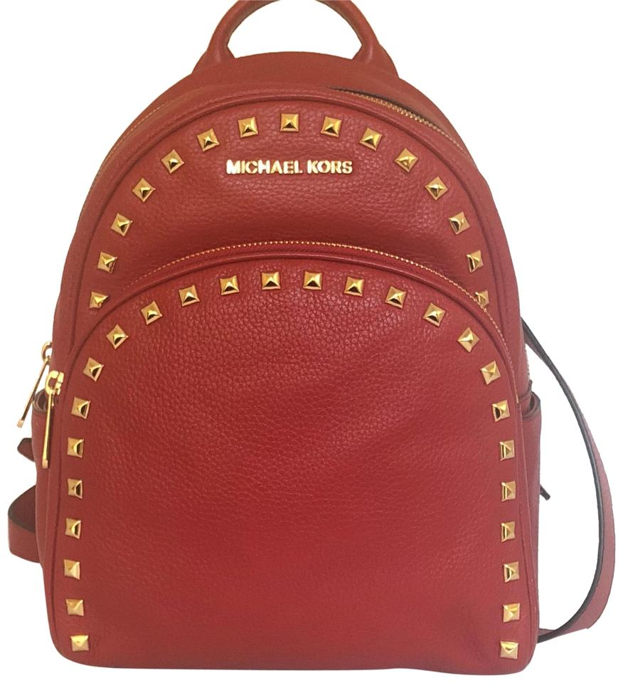 3f5c94aac4dc Michael Kors Medium Abbey Studded Red Leather Backpack - Tradesy