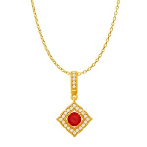 DesignerByVeronica Ruby CZ Square Halo Pendant in 18K Yellow Gold Vermeil