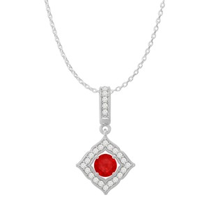 DesignerByVeronica Ruby CZ Square Halo Pendant Sterling Silver Free Chain