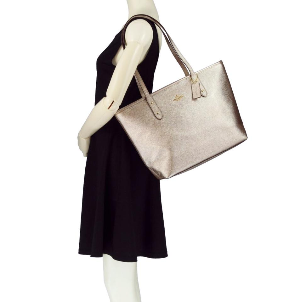 6ca18894 Coach City Zip F16224 Platinum/Gold Leather Tote 57% off retail