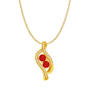 DesignerByVeronica Ruby Two Stone CZ Accented Pendant 14K Rose Vermeil