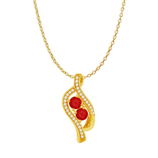 Preload https://img-static.tradesy.com/item/23999988/red-ruby-two-stone-cz-accented-pendant-14k-rose-vermeil-necklace-0-0-540-540.jpg
