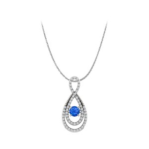 DesignerByVeronica Sapphire and CZ Infinity Style Pendant in 925 Silver