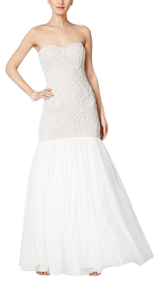 Adrianna Papell Ivory Imitation Pearl Strapless Mermaid Gown Long ...