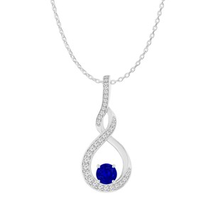 DesignerByVeronica Sapphire CZ Infinity Style Pendant 925 Sterling Silver