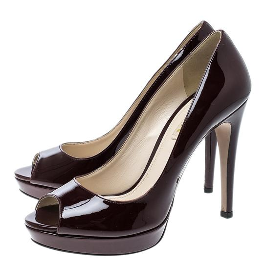 Prada Patent Leather Peep Toe Platform Burgundy Pumps