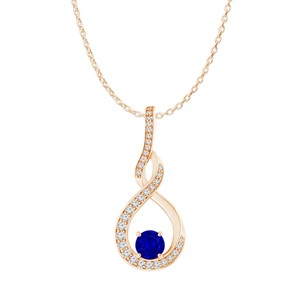 DesignerByVeronica Sapphire CZ Infinity Style Pendant Rose Gold Vermeil