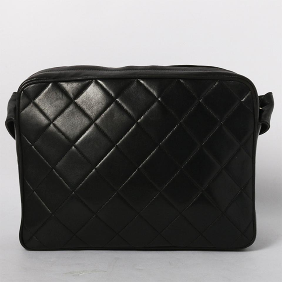29feb7459656 Chanel Camera Vintage Quilted Tassel Black Lambskin Leather Cross Body Bag  - Tradesy
