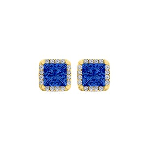 DesignerByVeronica Sapphire CZ Square Earrings 18K Yellow Gold Vermeil