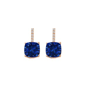 DesignerByVeronica Sapphire CZ Square Earrings Push Back 14K Gold Vermeil