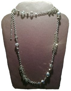 White House | Black Market Sale NWT WHBM Long Crystal & Silver Cluster Necklace