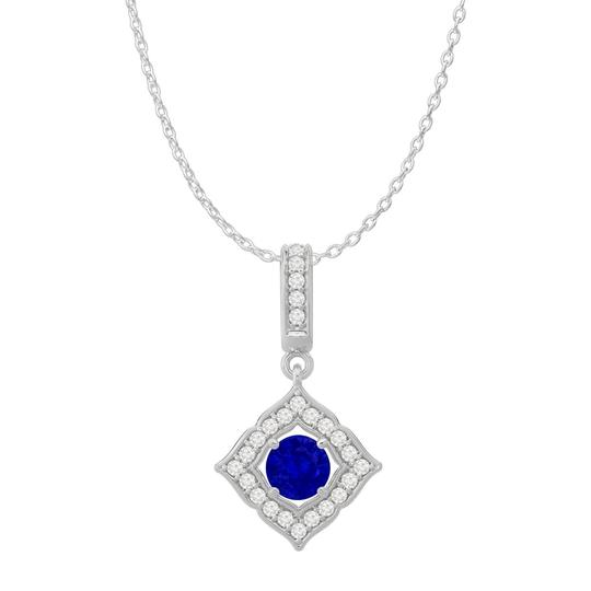 Preload https://img-static.tradesy.com/item/24000148/blue-sapphire-cz-square-halo-pendant-925-sterling-silver-necklace-0-0-540-540.jpg
