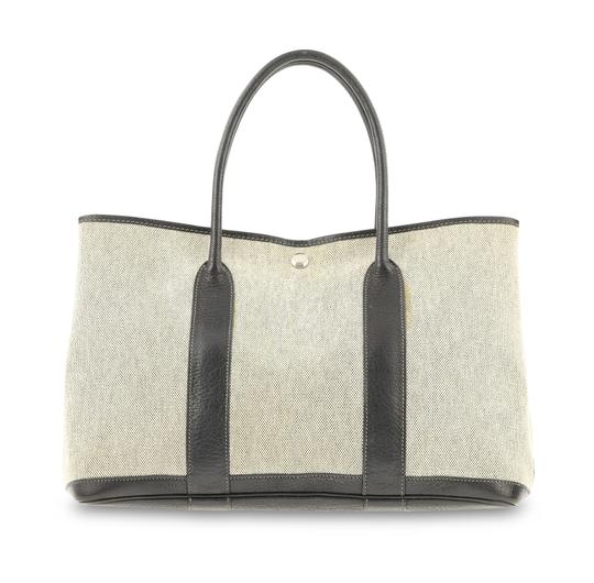 Hermès Gargen Party Black Noir Tote in White