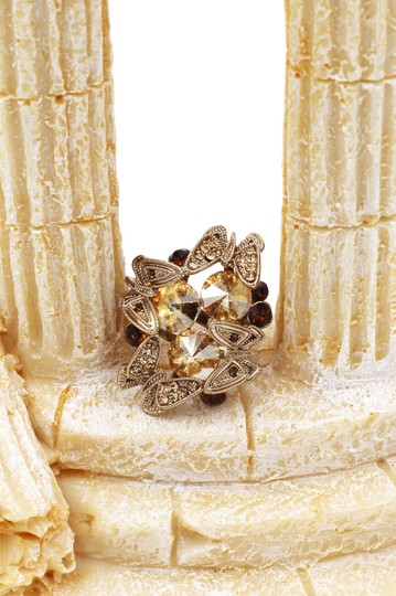 Ocean Fashion Gold Crystal Butterfly tricolor rings