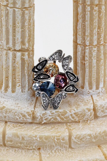 Ocean Fashion Silver Crystal Butterfly tricolor rings