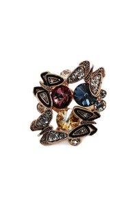 Ocean Fashion Rose gold Crystal Butterfly tricolor rings