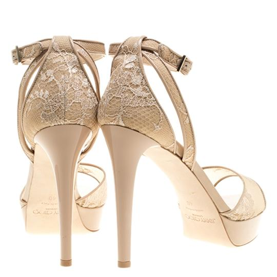 Jimmy Choo Lace Patent Leather Ankle Platform Beige Sandals