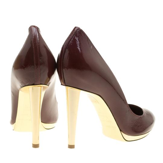Sergio Rossi Patent Leather Pointed Toe Burgundy Pumps