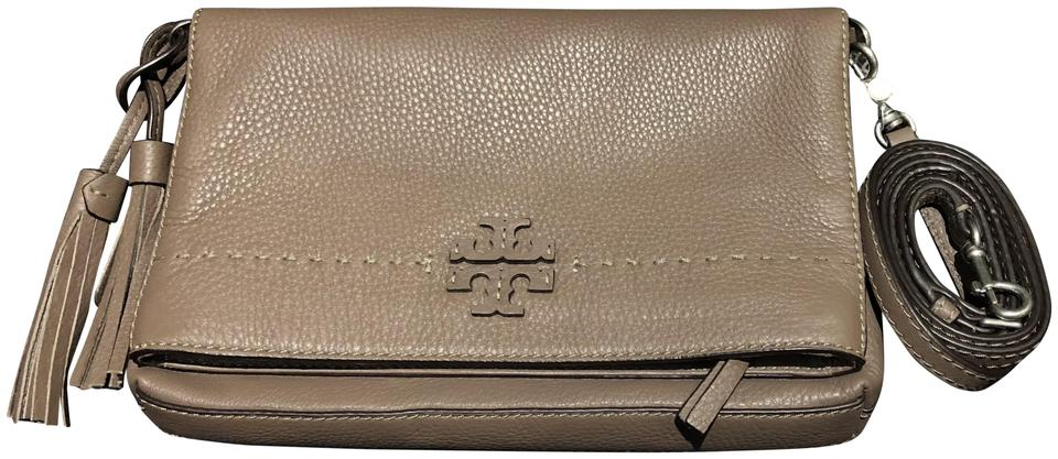 7effa8f76 Tory Burch Mcgraw Fold-over Silver Maple Leather Cross Body Bag ...