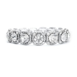 Mariell Bridal Or Prom Stretch Bracelet With Solitaires 532b-cr