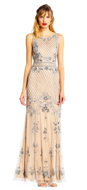Preload https://img-static.tradesy.com/item/24001064/adrianna-papell-silver-nude-beaded-with-illusion-neckline-long-formal-dress-size-petite-14-l-0-0-650-650.jpg