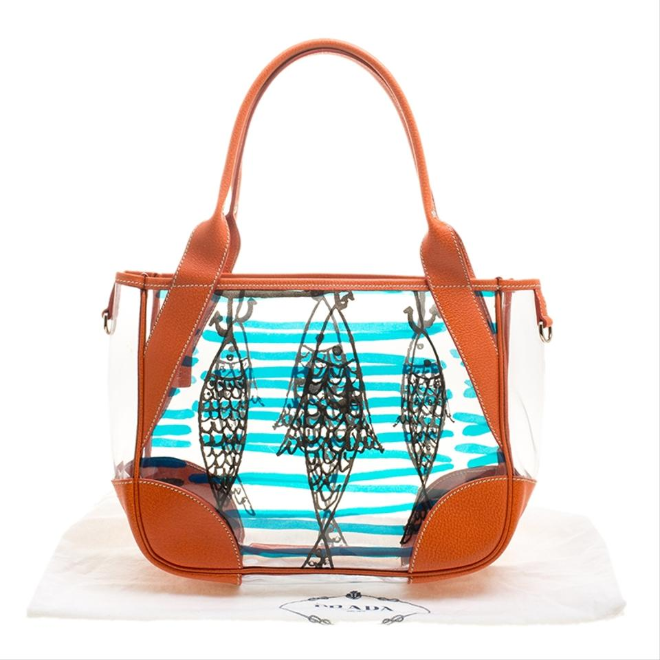 b45d6a8282b5 Prada Transparent/Orange Pvc and Fish Printed Orange Patent Leather Tote -  Tradesy