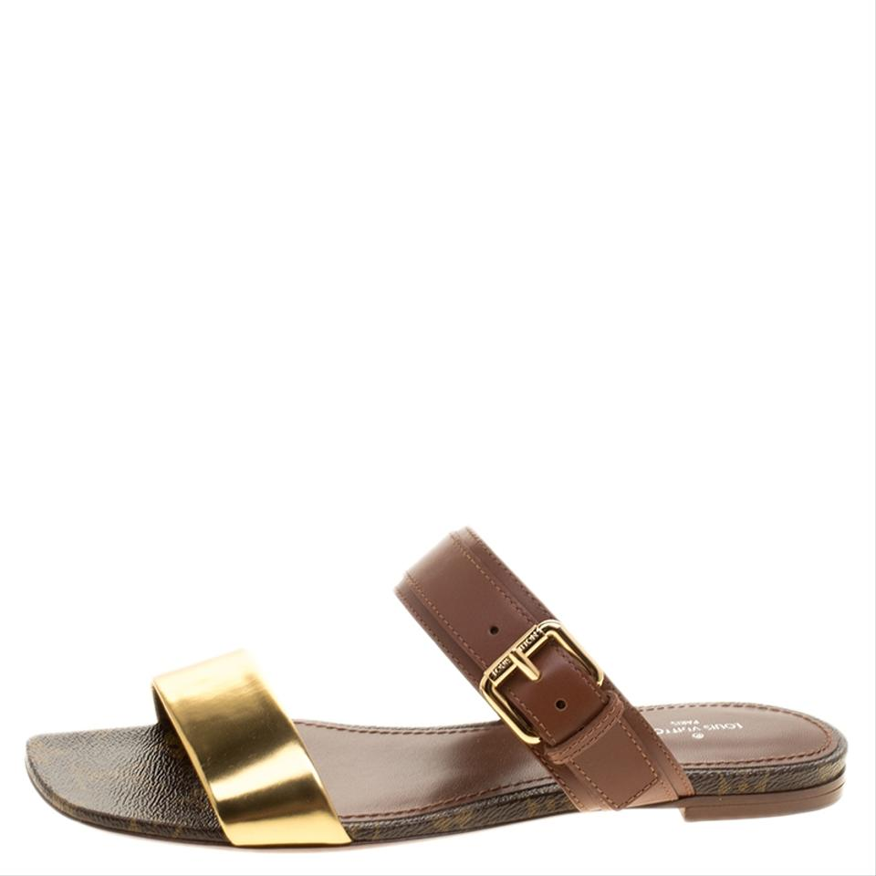 ede2c151c1be Louis Vuitton Brown Leather and Monogram Canvas Golden Bloom Slide ...