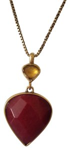 Lucky Brand Lucky Brand Faceted Red & Gold Stone Long Necklace