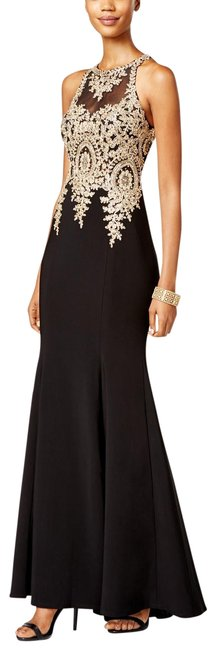 Item - Black Gold Embroidered Mesh Mermaid Gown Long Formal Dress Size Petite 4 (S)