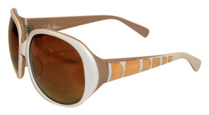 Cole Haan Cole Haan Wood Inlay Cream Rounded Square Sunglasses