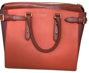 Aspinal of London Satchel in Black deep orange with black on the side