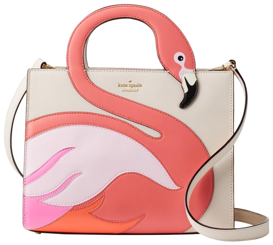 7a44d0eb3cdf0 Kate Spade By The Pool Crosshatched Leather Pxru8941 Flamingo Shoulder  Satchel in Cement Multi Image 0 ...