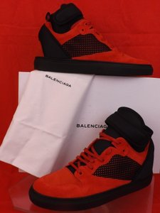 Balenciaga Red/Black Mens Mesh Neoprene Strap Hi Top Sneakers 45 Us 12 Shoes