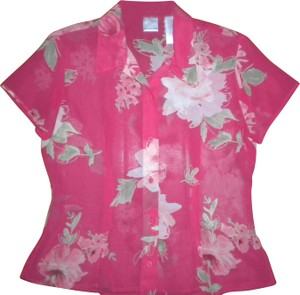 Emma James Button Front Short Sleeve Floral Sheer Button Down Shirt Multi-Color