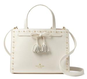 Kate Spade Hayes Street Studded Pebbled Leather Satchel in Cement