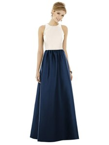Alfred Sung Ivory Top with Midnight Skirt D707 Traditional Bridesmaid/Mob Dress Size 4 (S)