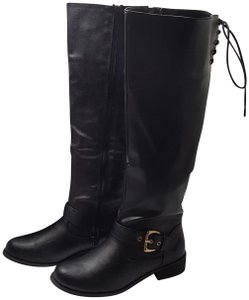 Bucco Bliss Up Buckle Black Boots