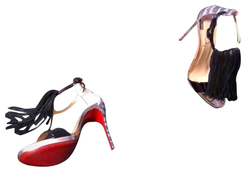 Christian Red. Louboutin Black Silver and Red. Christian Cassanovella Fringe 120 Pumps 596aea