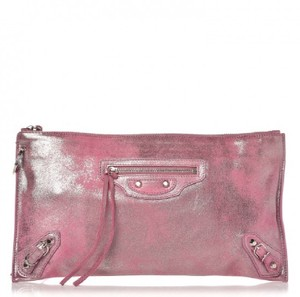 Balenciaga Pouch Leather Arena Silver Hardware Metallic Pink Clutch