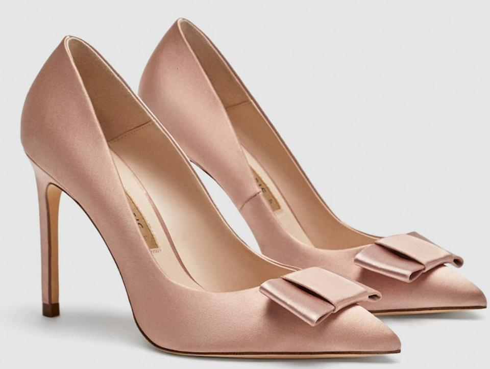 d824384b2d0 Zara Light Pink High Heel Satin with Bow Pumps Size US 11 Regular (M ...
