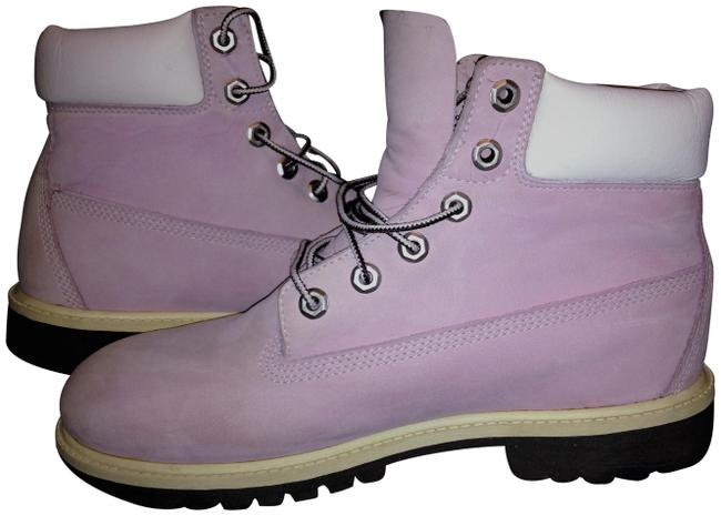 Item - Lilac / Purple W Men Custom Color White Leather Collar Boots/Booties Size US 9 Regular (M, B)