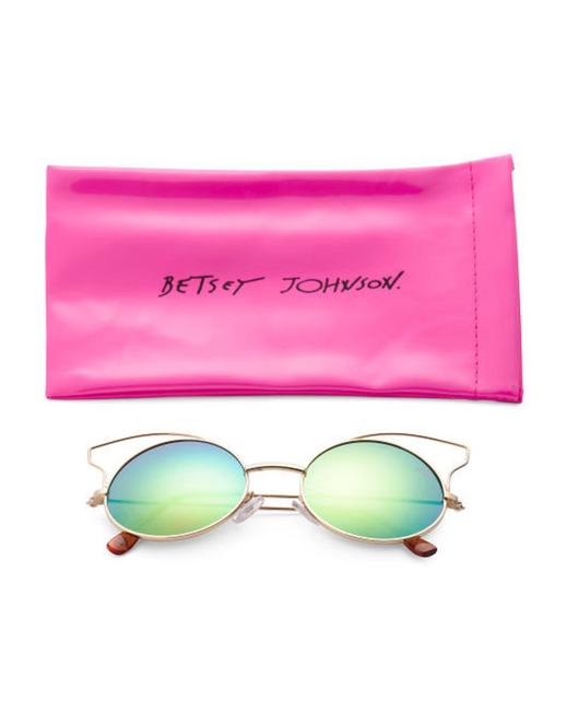 Item - New Green & Pink Multi Round Bj475109 Cat Eye Wire Accent Mirror Sunglasses