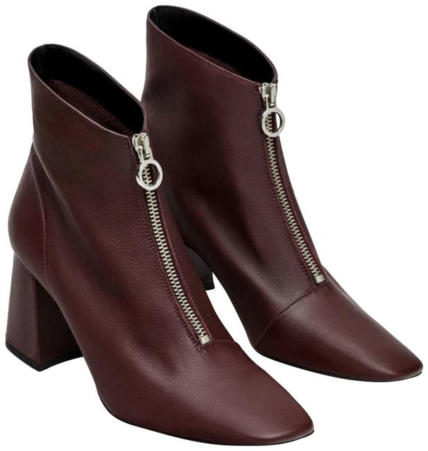 Item - Burgundy Front Zip Genuine Leather Ankle Boots/Booties Size US 9 Regular (M, B)